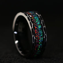 Load image into Gallery viewer, His and Her Fire Opal Wedding Ring Set Meteorite Wedding Band Set