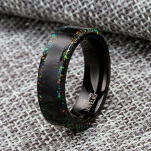 Load image into Gallery viewer, Forged Carbon Fiber Band Opal Ring Opal Wedding Band Fire Opal Ring