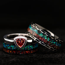 Load image into Gallery viewer, His and Her Fire Opal Wedding Ring Set Meteorite Wedding Rings Set