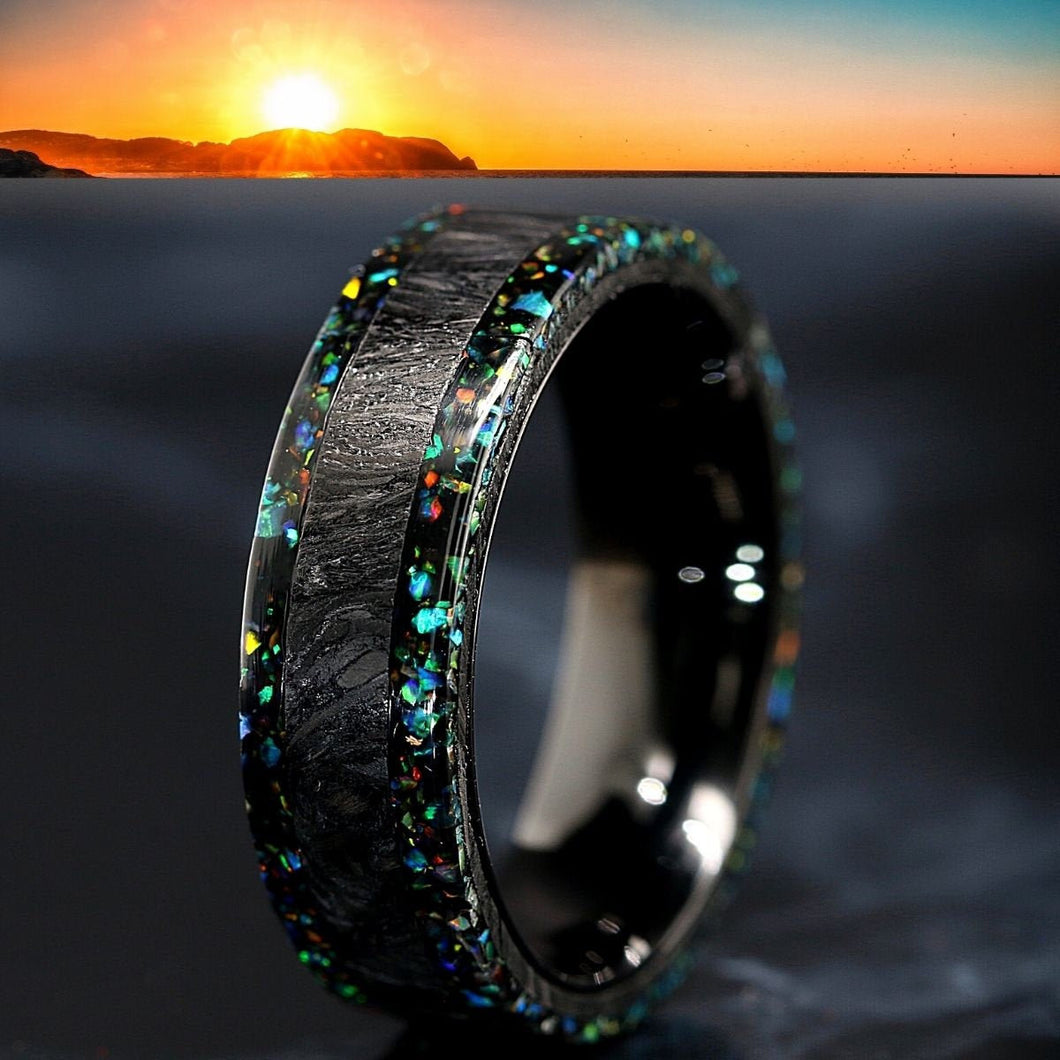 Forged Carbon Fiber Band Opal Ring Opal Wedding Band Fire Opal Ring