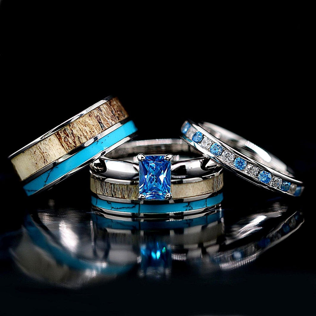 4 pc Deer Antler Ring Set Turquoise Rings His & Her Wedding Ring Set