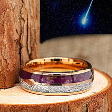 Load image into Gallery viewer, Gold Plated Tungsten Meteorite Ring - Meteorite with Purple Agate Wedding Band