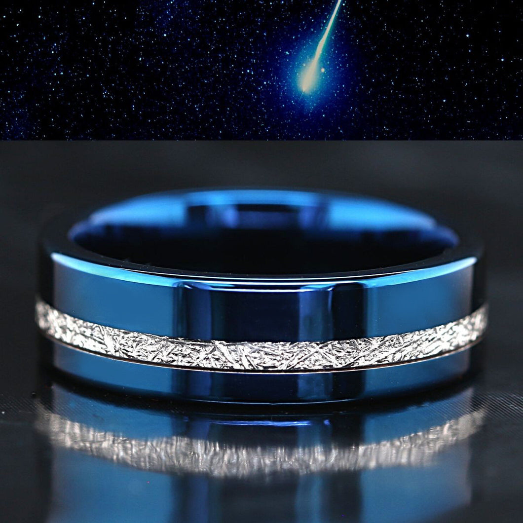 Blue Tungsten Meteorite Ring Mens Tungsten Wedding Ring