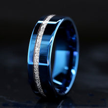 Load image into Gallery viewer, Blue Tungsten Meteorite Ring Mens Tungsten Wedding Ring