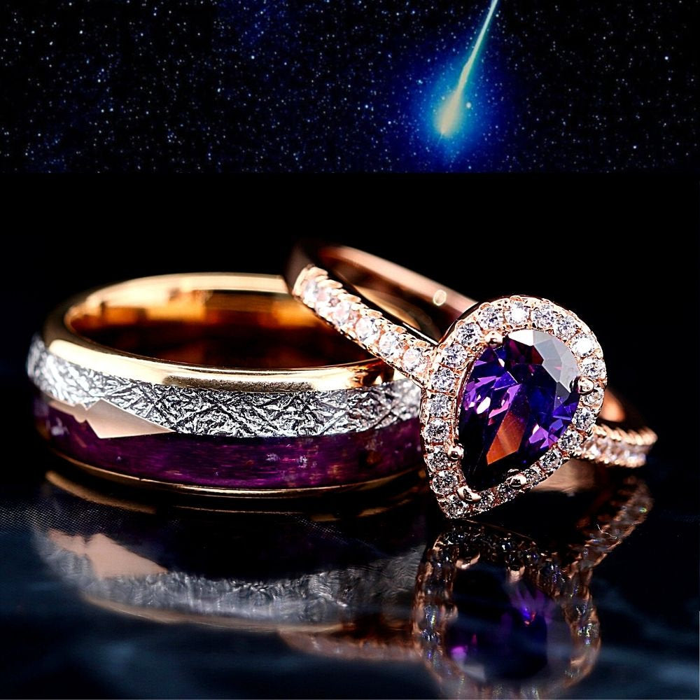 2 pc Bridal Rings Set Purple Agate Tungsten Ring Meteorite Wedding Band