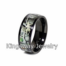 Load image into Gallery viewer, His and Her Camo Wedding Ring Set Titanium and Sterling Silver Engagement Rings