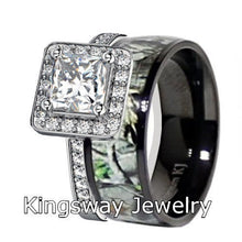 Load image into Gallery viewer, 2 piece Women's Black Camo Wedding Ring Set Titanium and Sterling Silver Bridal Engagement Rings - FREE ENGRAVING
