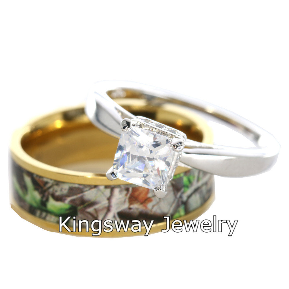 2 pc Gold Camo Wedding Rings Set Silver Engagement Rings Set
