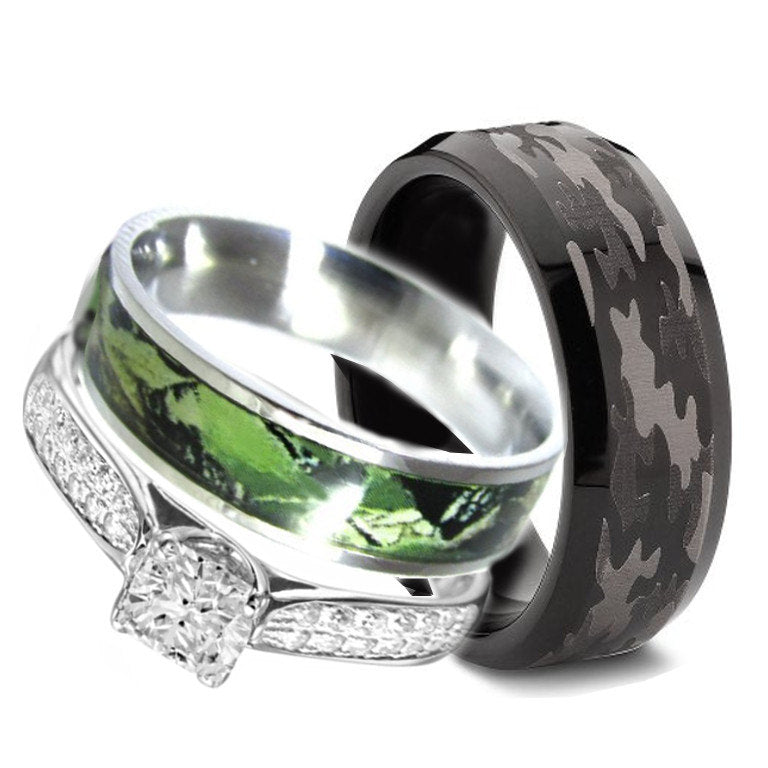 3 pc His Hers Sterling Silver Stainless Steel Camo Engagement Wedding Rings Set