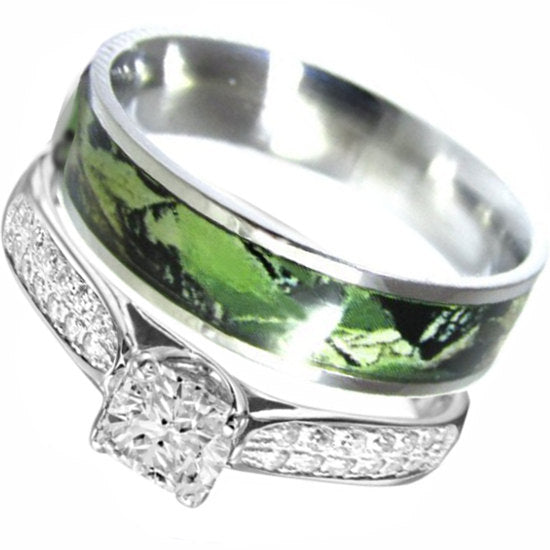 2 pc Green Camo Wedding Ring Set Sterling Silver Stainless Steel Engagement Rings