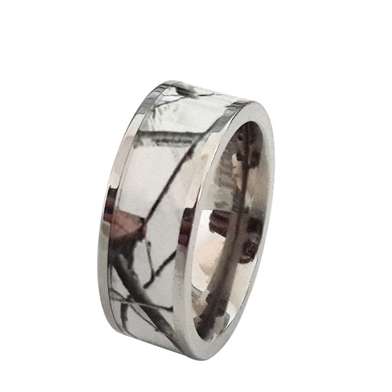 Titanium Snow White Camo Wedding Ring Camouflage Wedding Band