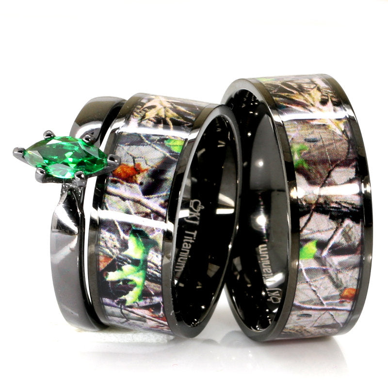Couples Black Camo Wedding Ring Set Marquise Engagement Ring