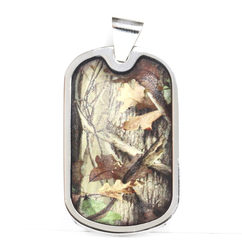 Customizable Hunting Camo Dog Tag Stainless Steel Unisex Necklace or Pet Collar FREE ENGRAVING