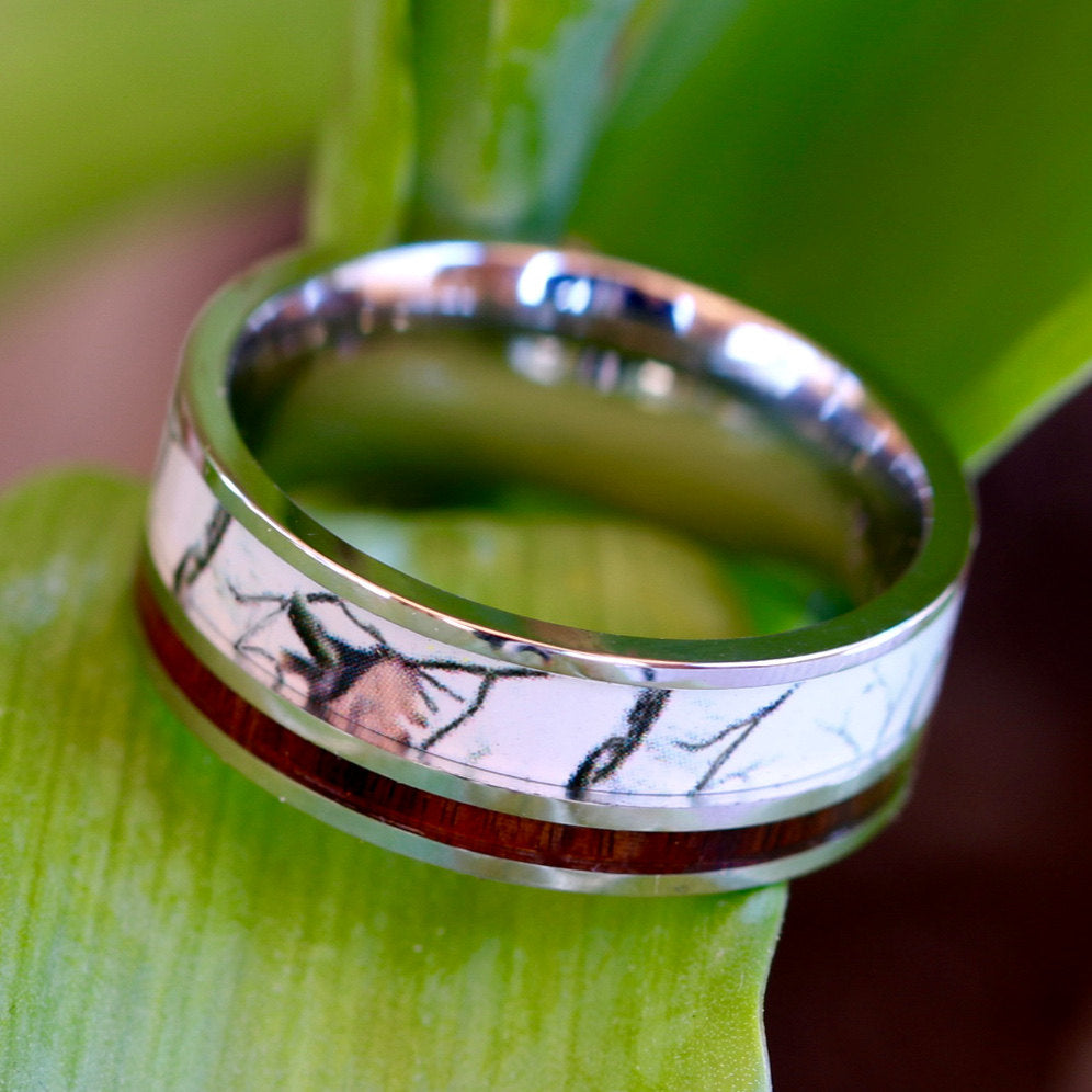 Stainless Steel White Camo Ring Koa Wood Ring