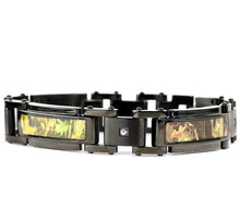 Load image into Gallery viewer, 3 pc Black Camo Jewelry Set Hunting Bracelet Ring Dog Tag