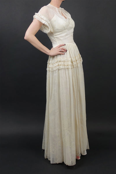 Original 1930s Chiffon Wedding Gown