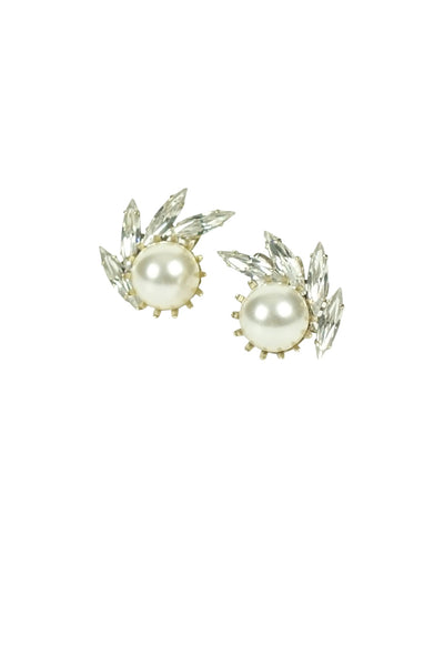 Ti Adoro Crystal and Pearl Stud Wedding Earrings | Silver Moon