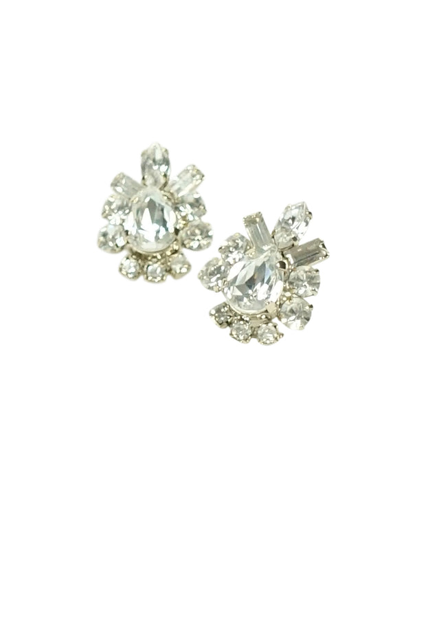 Ti Adoro Crystal Stud Wedding Earrings | Silver Moon