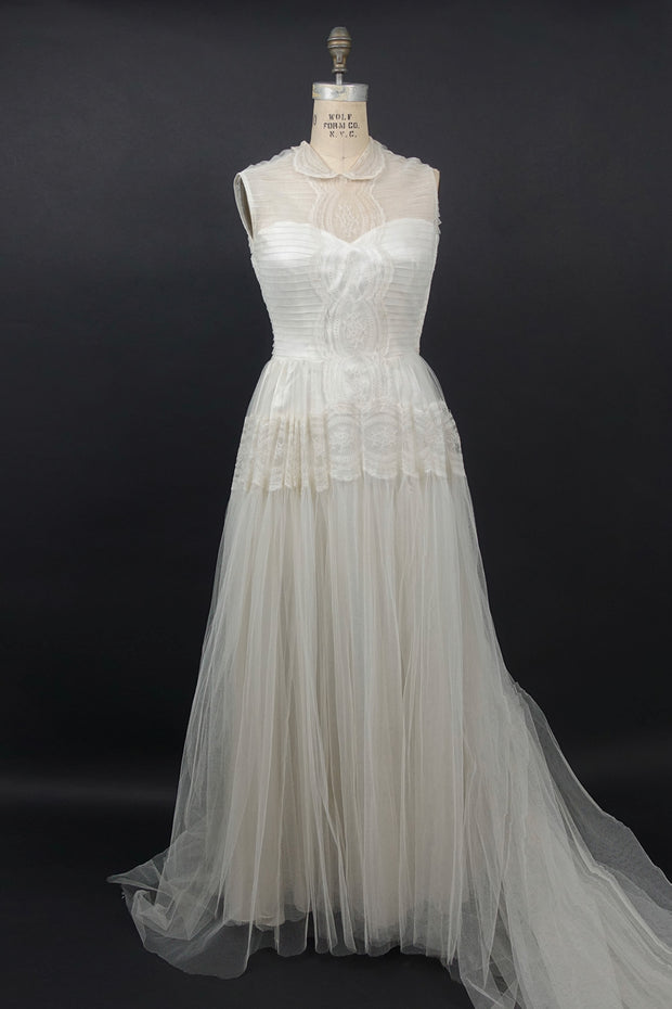 Vintage 1940 Tulle Wedding Gown