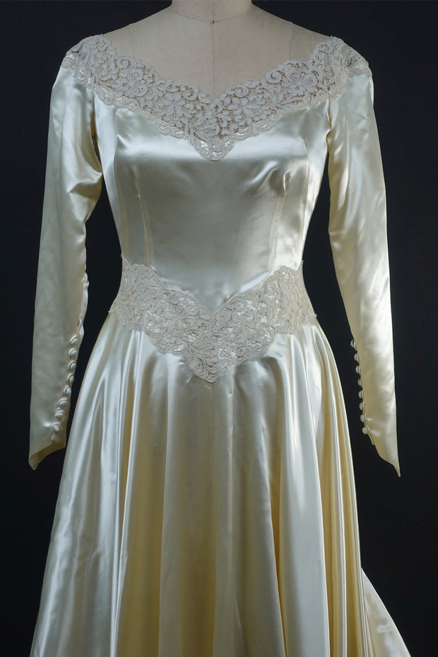1940 Satin Wedding Gown