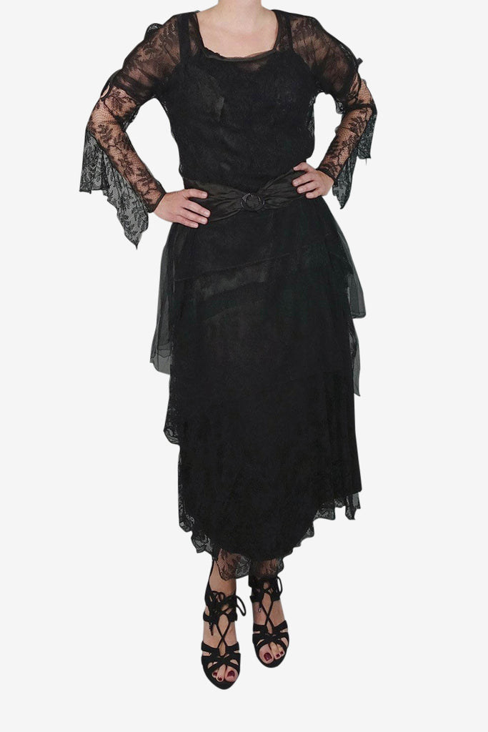 1920s Black Lace and Net Dress
