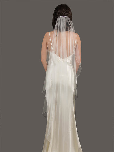36 Inch thread Edge Veil | Silver Moon