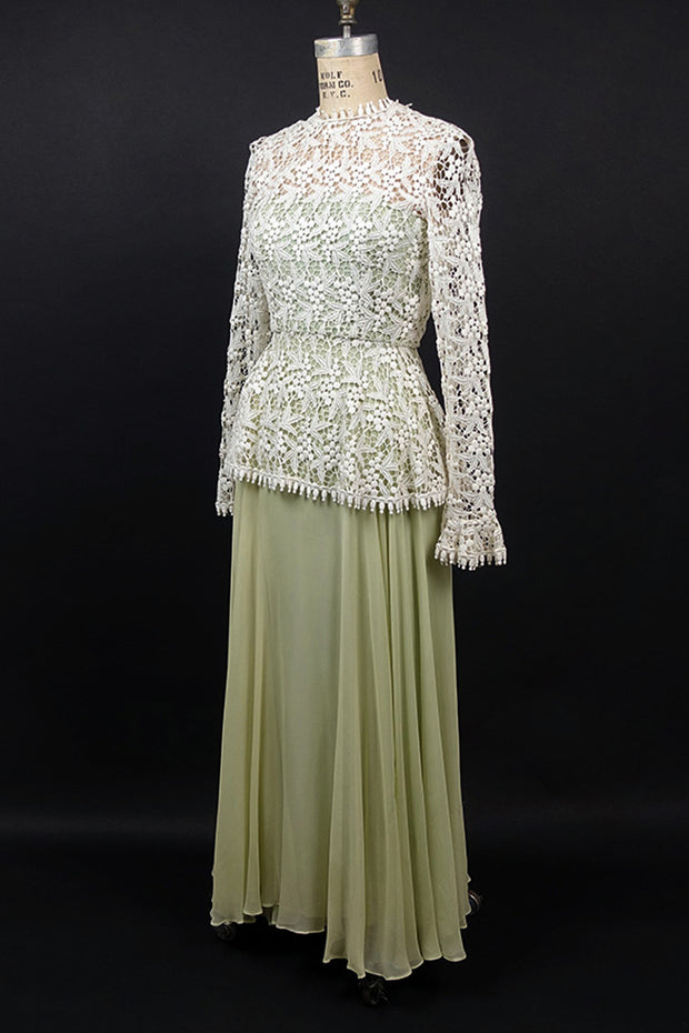 Vintage 1970 Crochet Gown | Little White Dresses | Silver Moon | 2