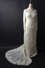 Original 1960s Beaded Lace Wedding Gown