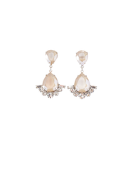 Blush Deco Drop Wedding Earrings | Silver Moon