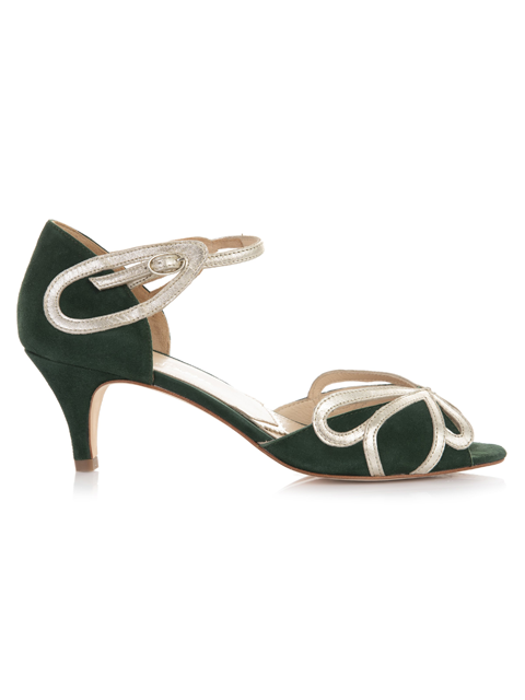 Rachel Simpson Cecelia Forest Green Wedding Shoe | Silver Moon | Side