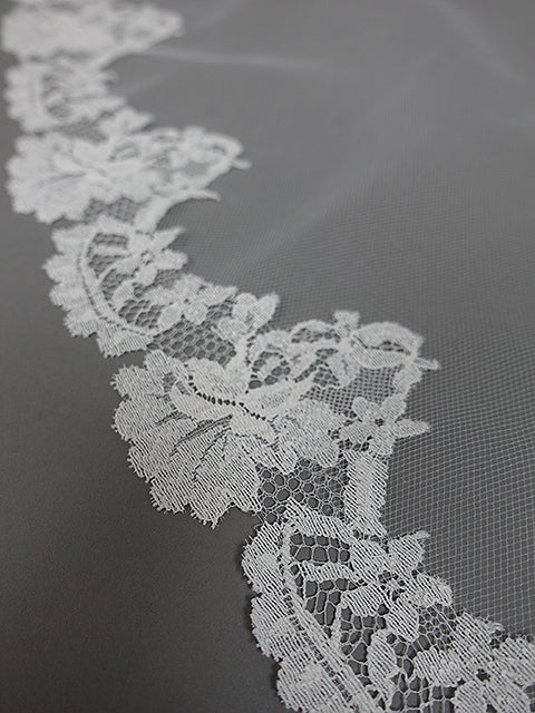 Carolyn Chantilly Lace Veil | Silver Moon | Closeup