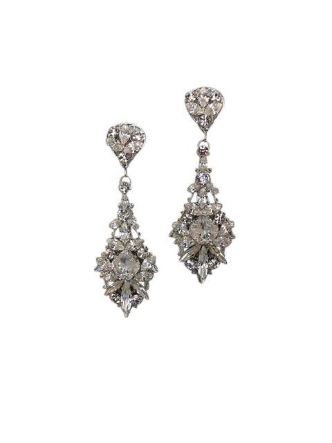 Crystal Chandelier Statement Wedding Earrings | Silver Moon