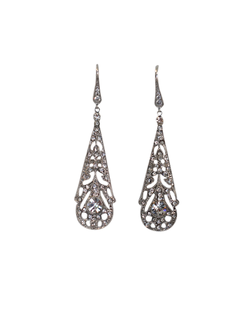 Art Deco Chandelier Wedding Earrings | Silver Moon