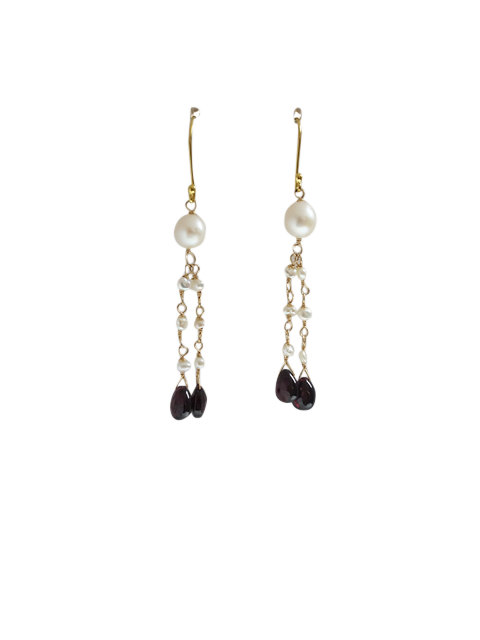 Garnet & Pearl Drop Wedding Earrings | Silver Moon
