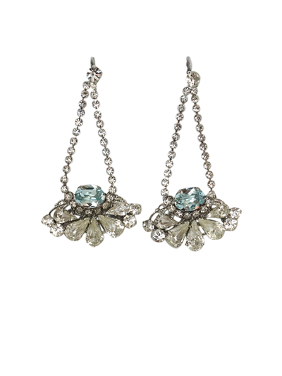 Something Blue Chandelier Wedding Earrings | Silver Moon