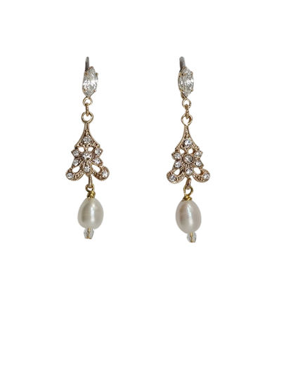 Art Deco Pearl Drop Wedding Earrings | Silver Moon