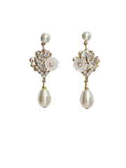 Dahlia Pearl Drop Wedding Earrings | Silver Moon