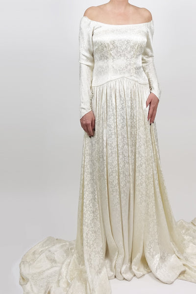 1940s Silk Print Wedding Dress