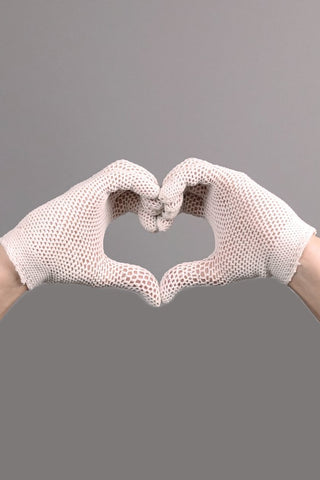 Silver Moon | Vintage Ivory Short Net Gloves