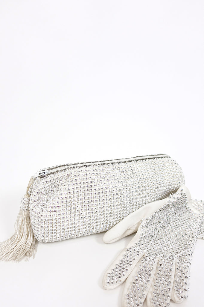 Vintage Rhinestone Clutch & Gloves | Silver Moon