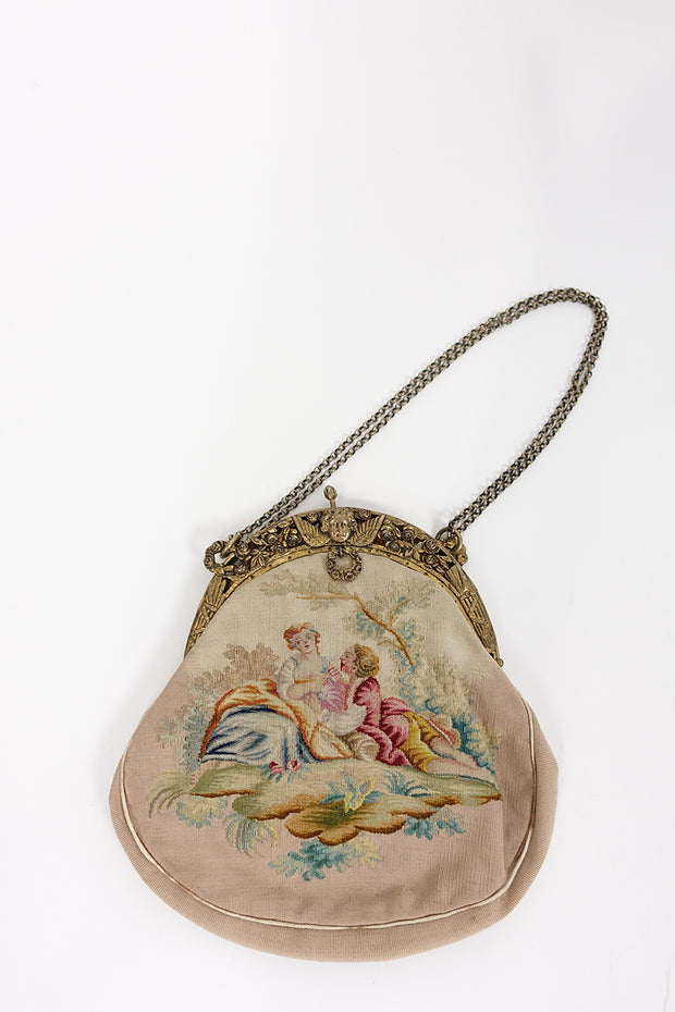 Vintage Needlepoint Purse | Silver Moon