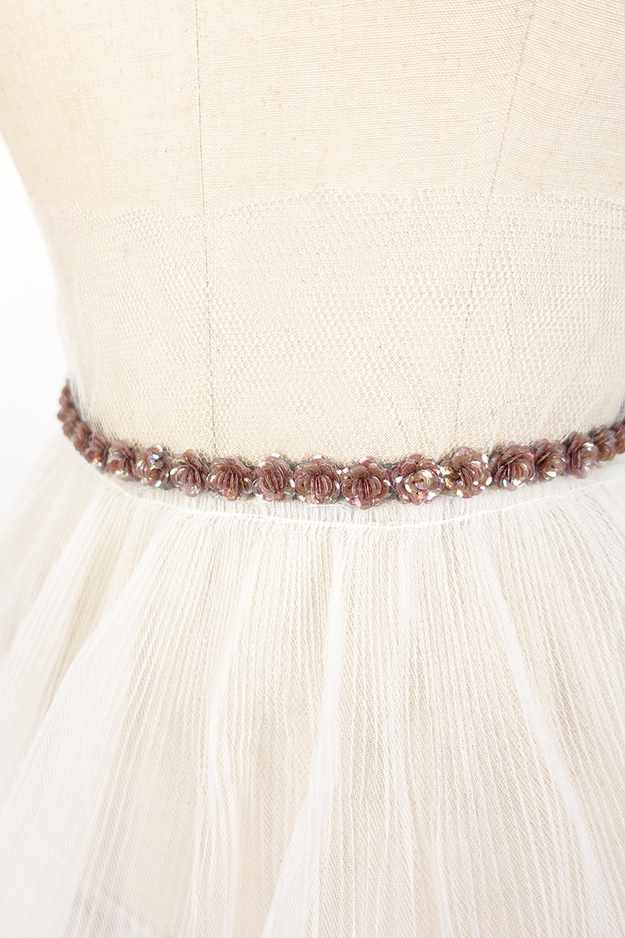Sequin Rose Wedding Sash | Silver Moon