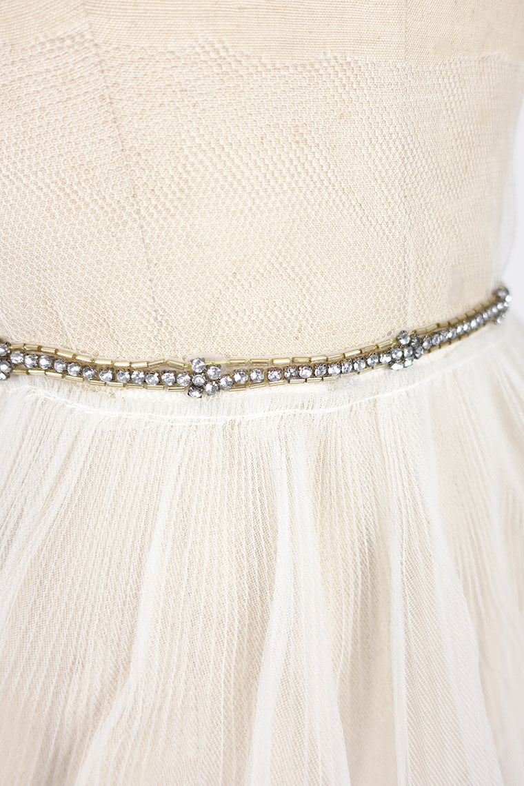 Thin Gold and Rhinestone Sash