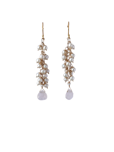 Adrienne Pearl Cluster Wedding Earrings | Silver Moon