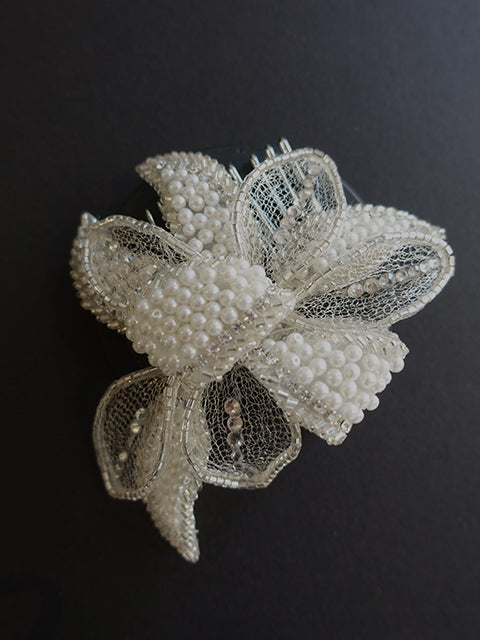 Pearl Bow Hair Comb