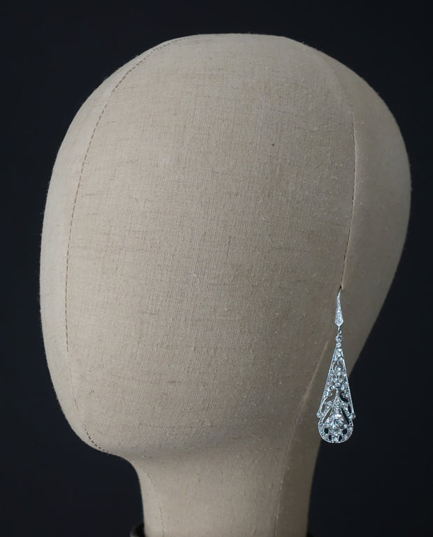 Art Deco Chandelier Wedding Earrings | Silver Moon | Head