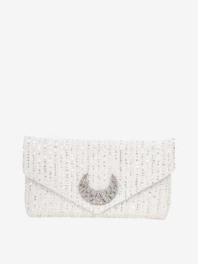 Ruth Clutch Hollywood | Light Ivory | Silver Moon