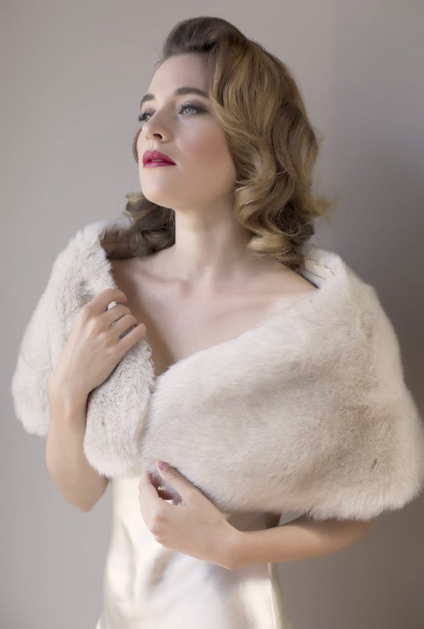Silver Moon | Vintage Inspired Faux Fur Wrap Front