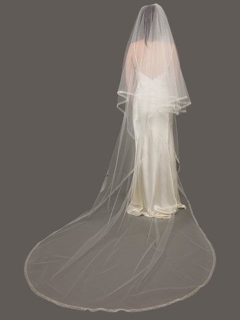 Circular Cut Double Layer Veil | Silver Moon