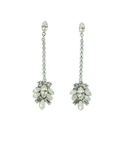 Opal Deco Drop Wedding Earring | Silver Moon